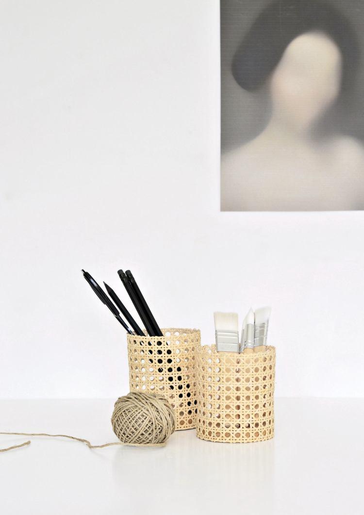 DIY pen pots rattan