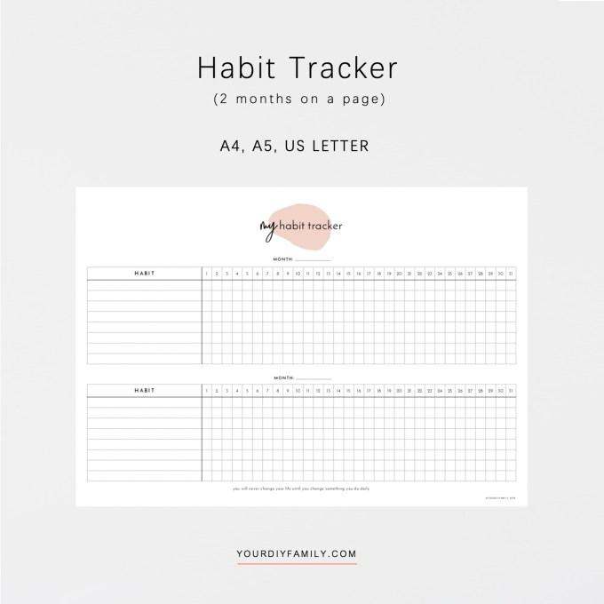 30 day habit tracker printable
