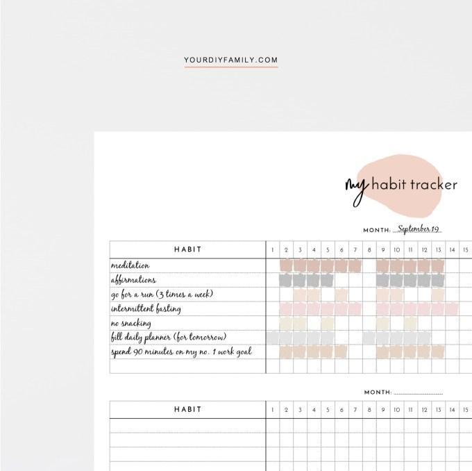 monthly habit tracker pdf