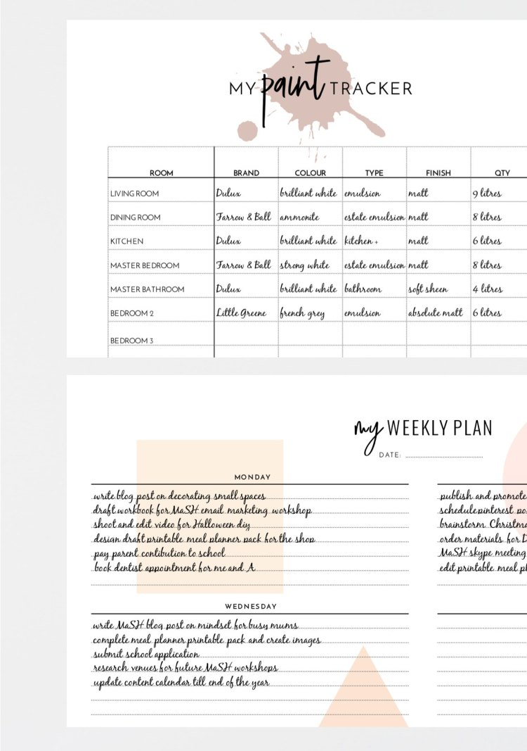house paint tracker weekly planner printable
