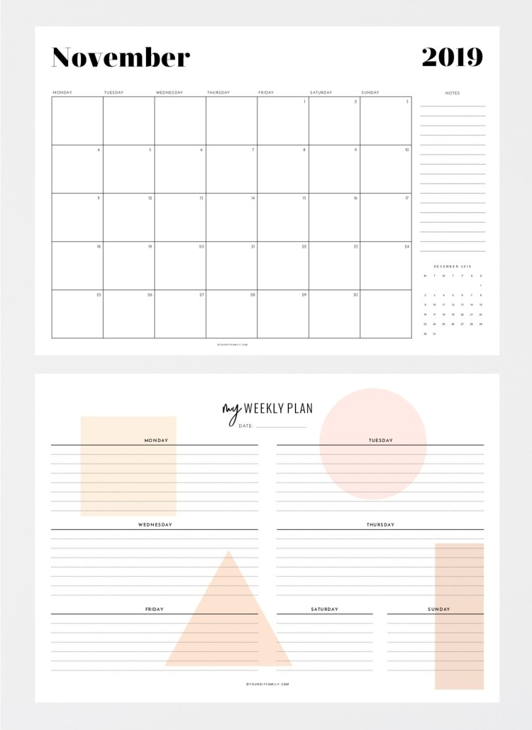 monthly calendar weekly planner printable