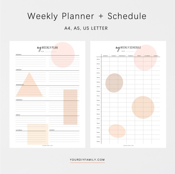 vertical weekly planner printable