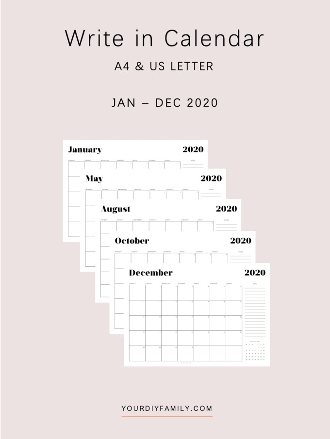 minimalist printable calendar 2020