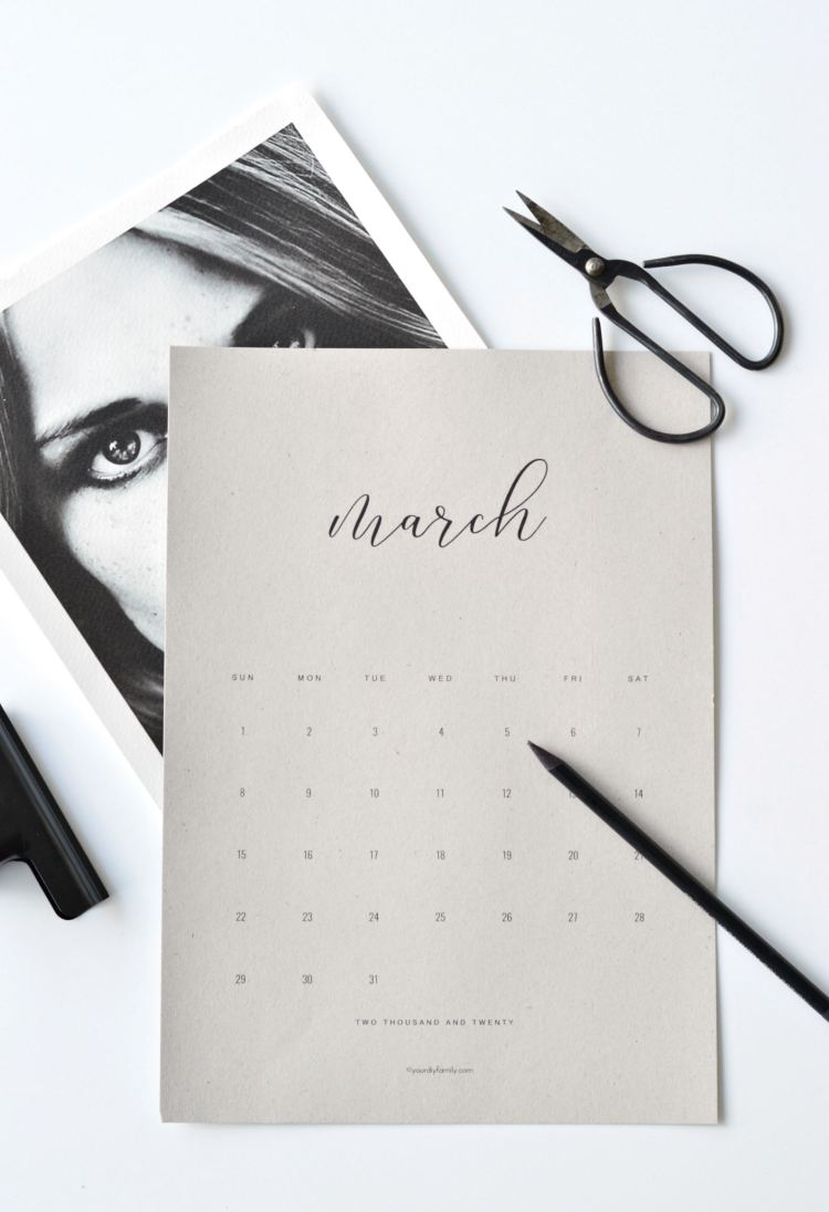 2020 calendar printable minimalist design