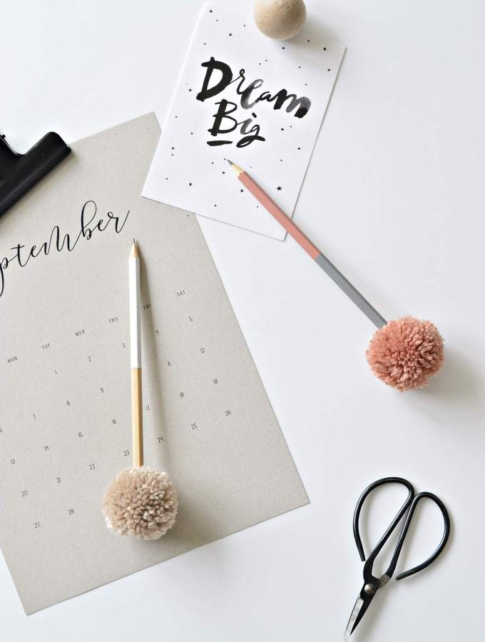 Fun up your desks with these DIY pompom pencil toppers