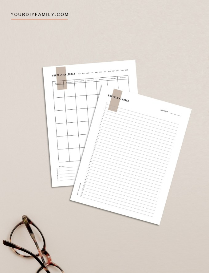 minimalist monthly planner printable