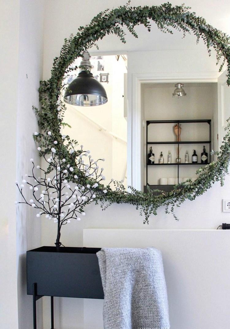 Christmas garland on mirror