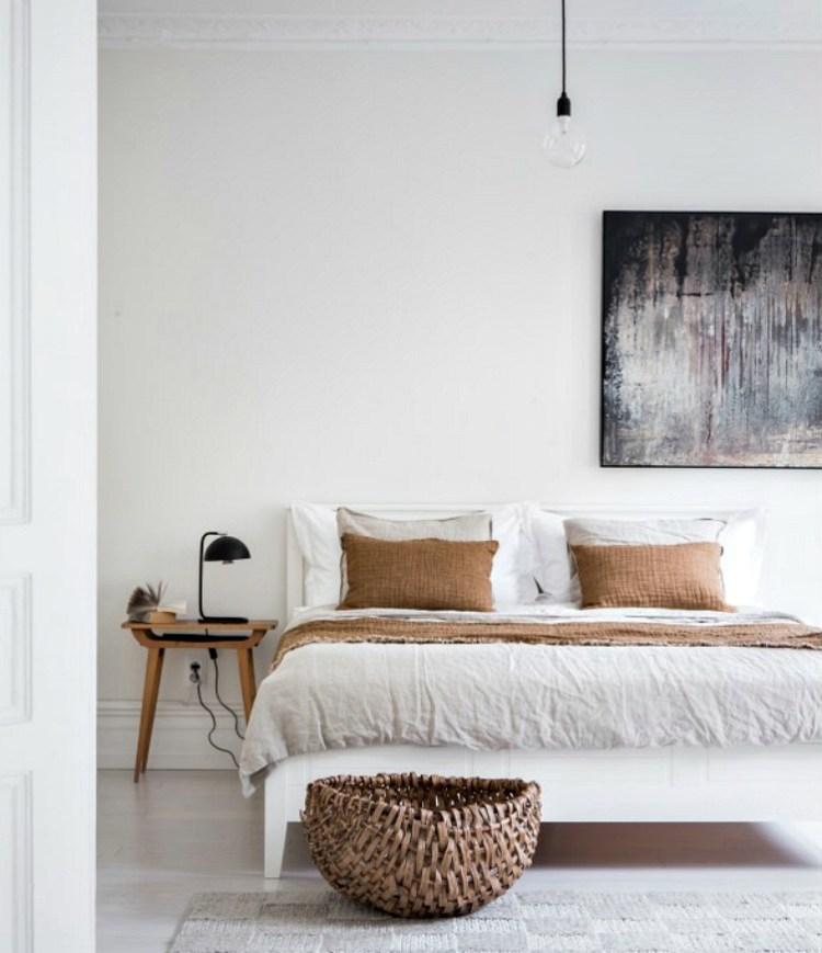 white bedroom mustard minimal