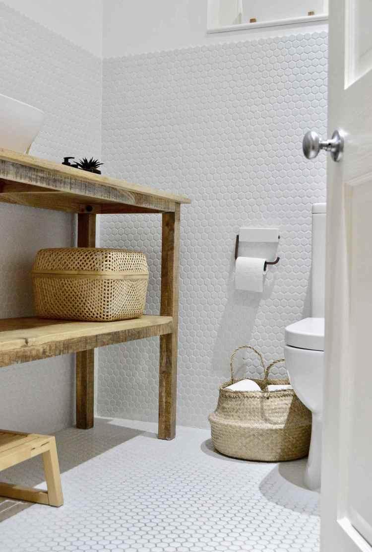 white hexagon tile bathroom decor