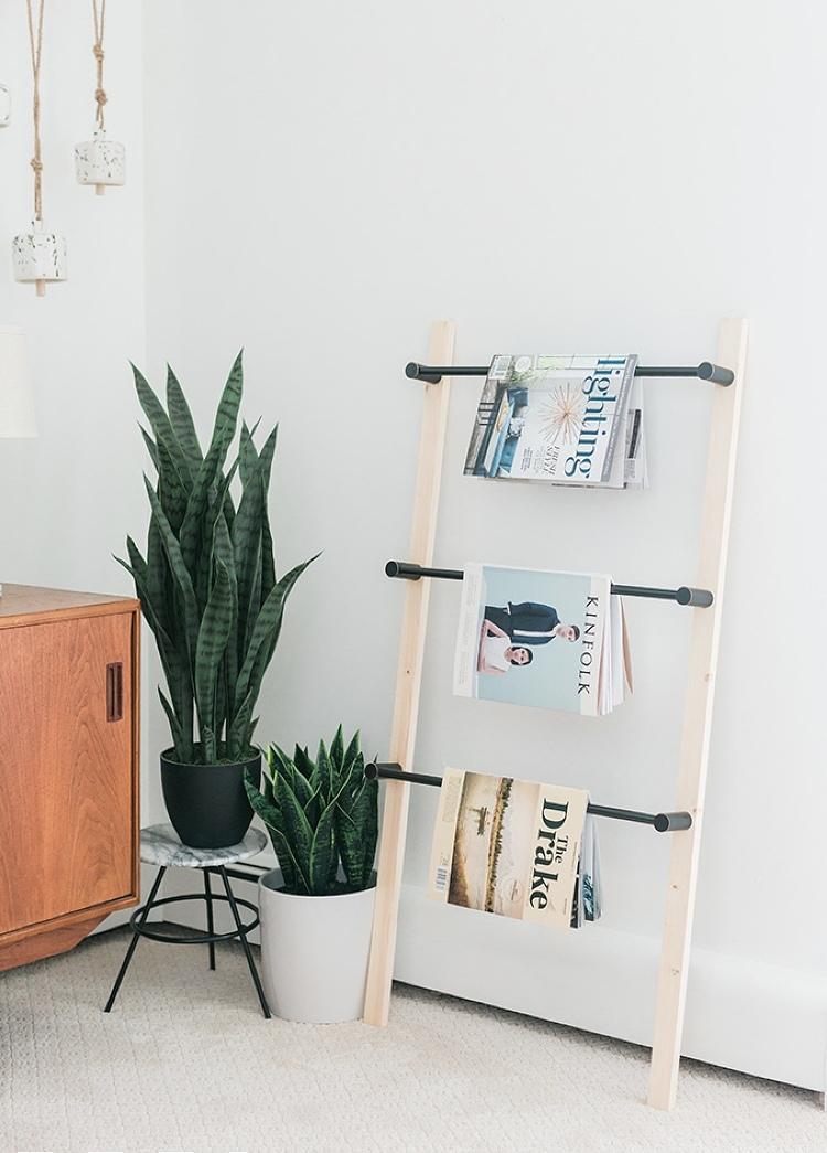 DIY ladder magazine rack