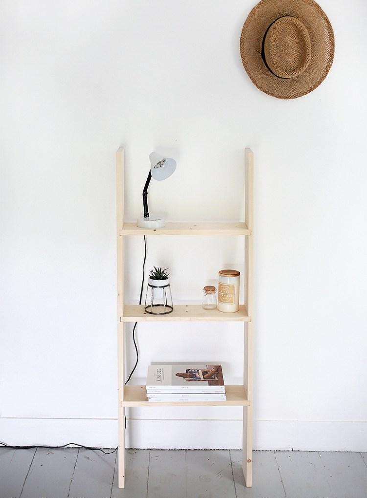 DIY wooden ladder shelf