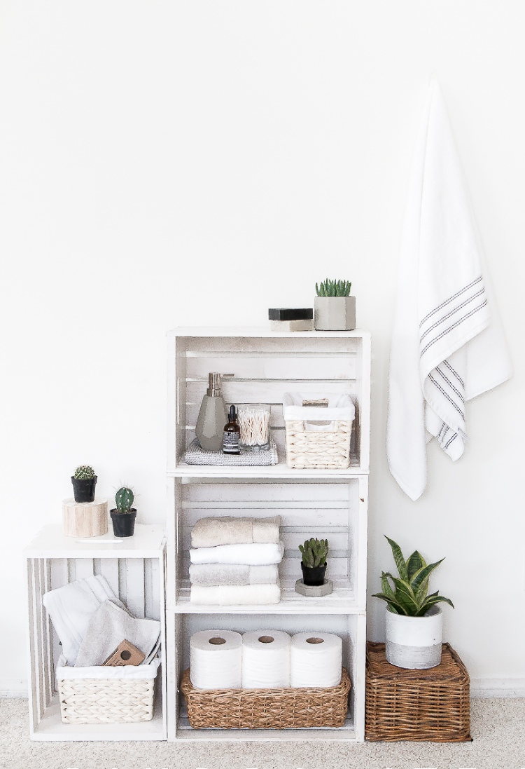 how to organise bathroom with no counter space
