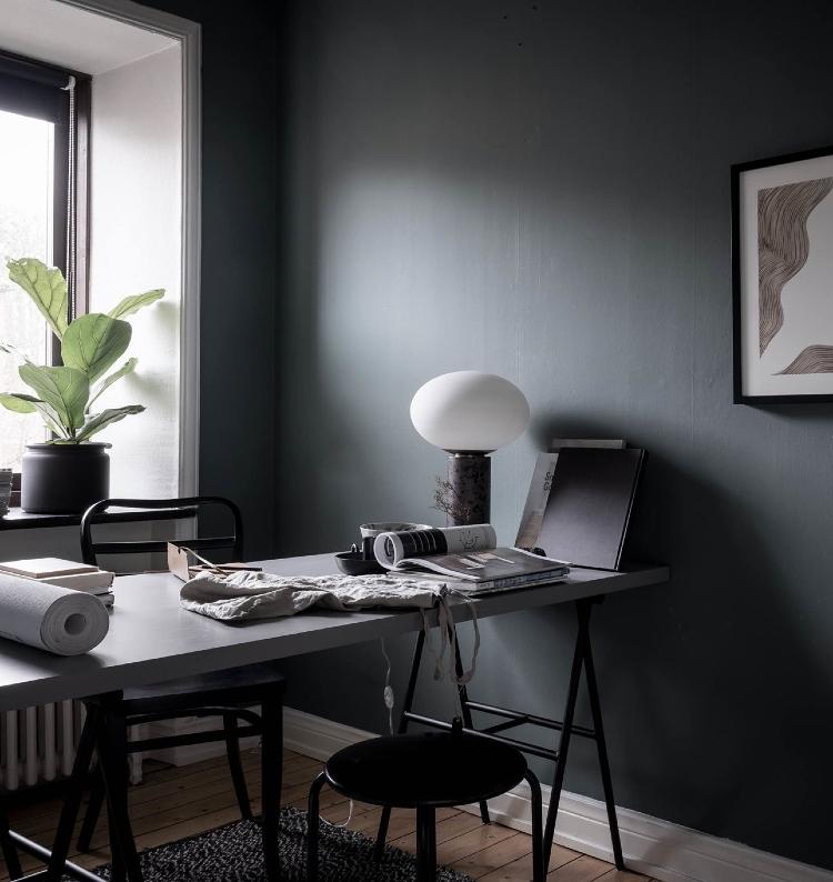 scandinavian home office dark walls