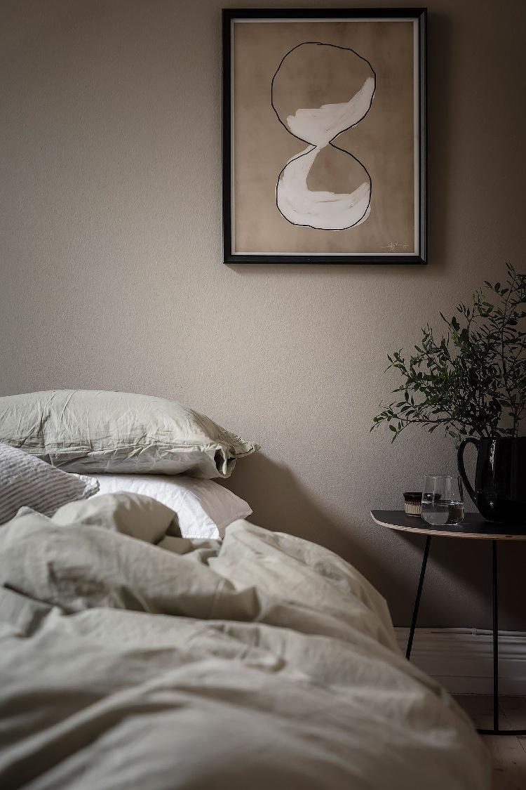 warm beige Scandinavian bedroom