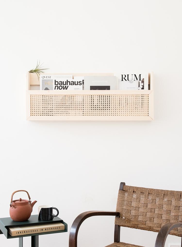 DIY magazine rack wall
