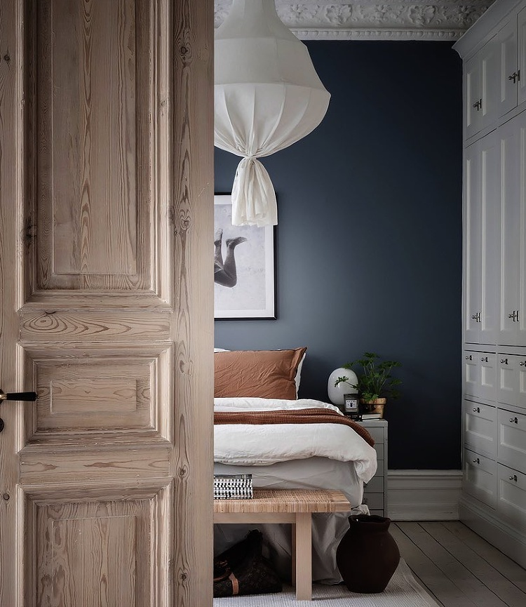 dark blue bedroom Scandinavian