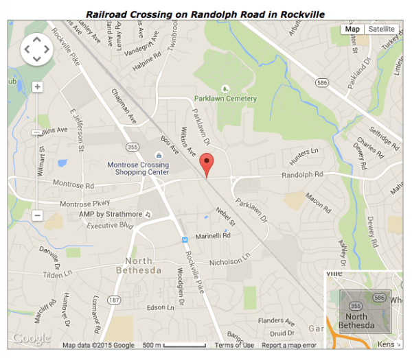 Map of the area near Your Dog's Friend, pinpointing the closure at the train tracks on Randoph Road