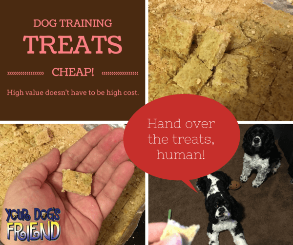 Photo collage showing baked dog treats, two cocker spaniels begging for a treat, and the text Dog Training Treats Cheap. High Value doesn't have to mean high ost.