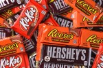IRVINE, CALIFORNIA – OCTOBER 27, 2017: A variety of Hersheys Candy Bars. The full size candy bars are a favorite at Halloween.