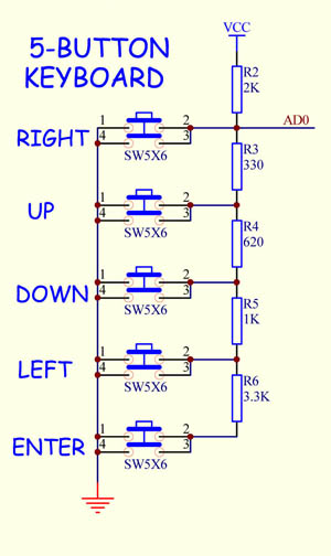 5Button Keyboard (3wire Analog)