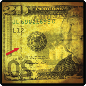Close up of a security strip on a US $20 note.