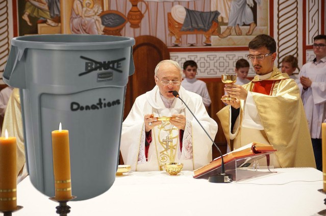 New 45-Gallon Donation Basket Not as Subtle as Priest Imagined