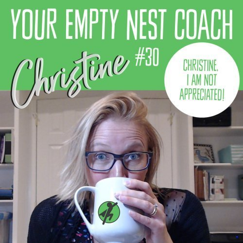 Cover image for the Your Empty Nest Coach Podcast Episode #30, Coach Christine with some coffee.