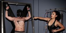 Breaking in new slaves one nipple clamp at a time. By Justin Caffier.