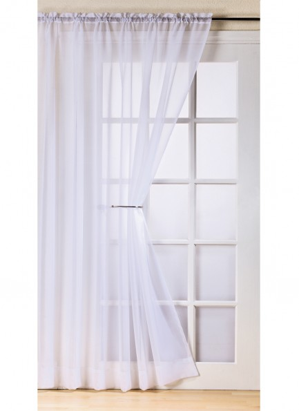 T Top Quality Slot Rod Pocket Net Curtain Voile Panel White 59 Wide Pair