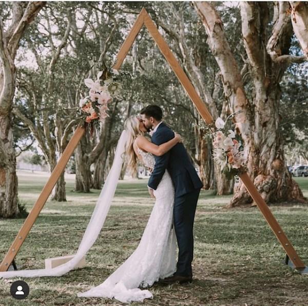 Triangle arbour for wedding ceremony in Centennial park sydney.