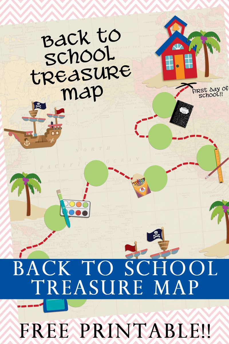 Back to School Treasure Map Printable-a fun way to get the kids excited for a new school year! FREE Printable!