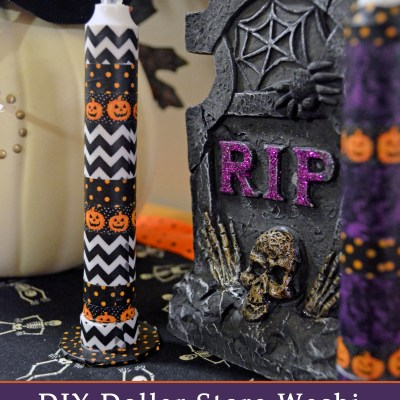 DIY Dollar Store Washi Tape Halloween Candles