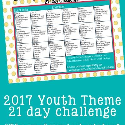 2017 Youth Theme 21 Day Challenge Printable