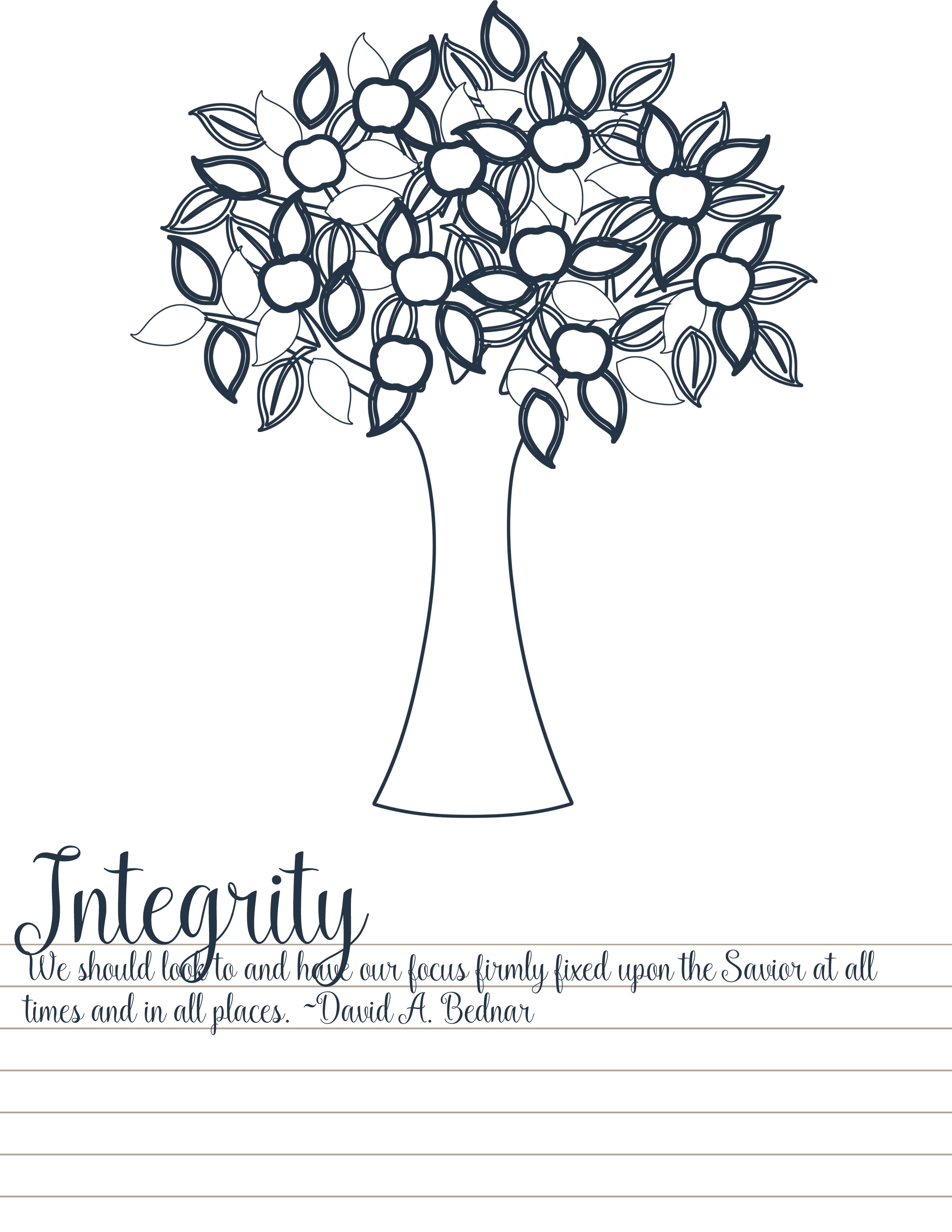 Integrity Tree Coloring Page Your Everyday Family