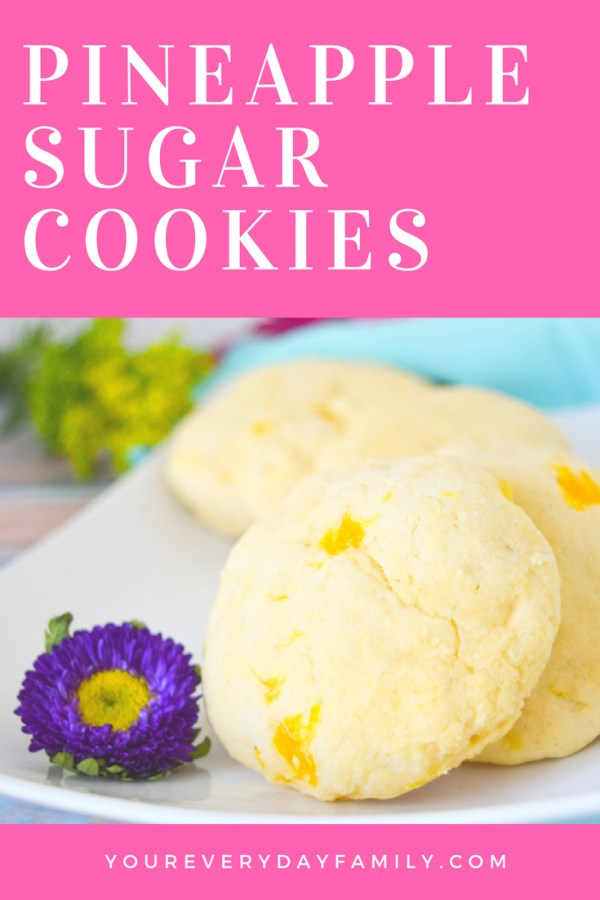 "Pineapple Sugar Cookies are a delicious way to change up your regular sugar cookie recipe with a hint of pineapple and tropical flavor! They are the perfect cookie to serve at a wedding shower, luau, or to celebrate Disney's ""Moana""!"