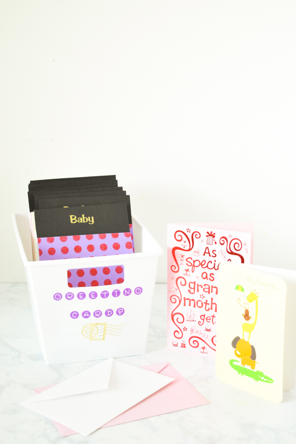 DIY Dollar Store Greeting Card File: Organize your greeting cards and always have a card ready for every occasion! Also makes a fun and unique wedding gift!