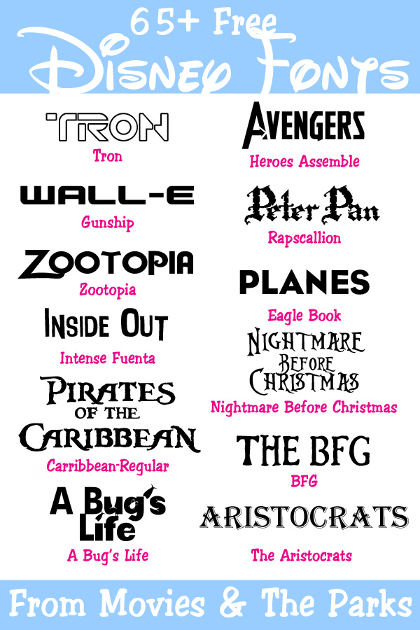 65+ Free Disney Fonts from the Movies & Parks - Your Everyday Family