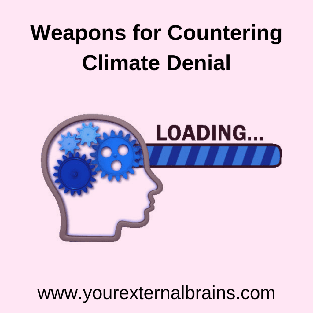 head with gears words countering climate denial