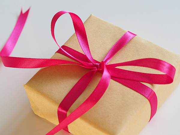 Wedding present with pink ribbon