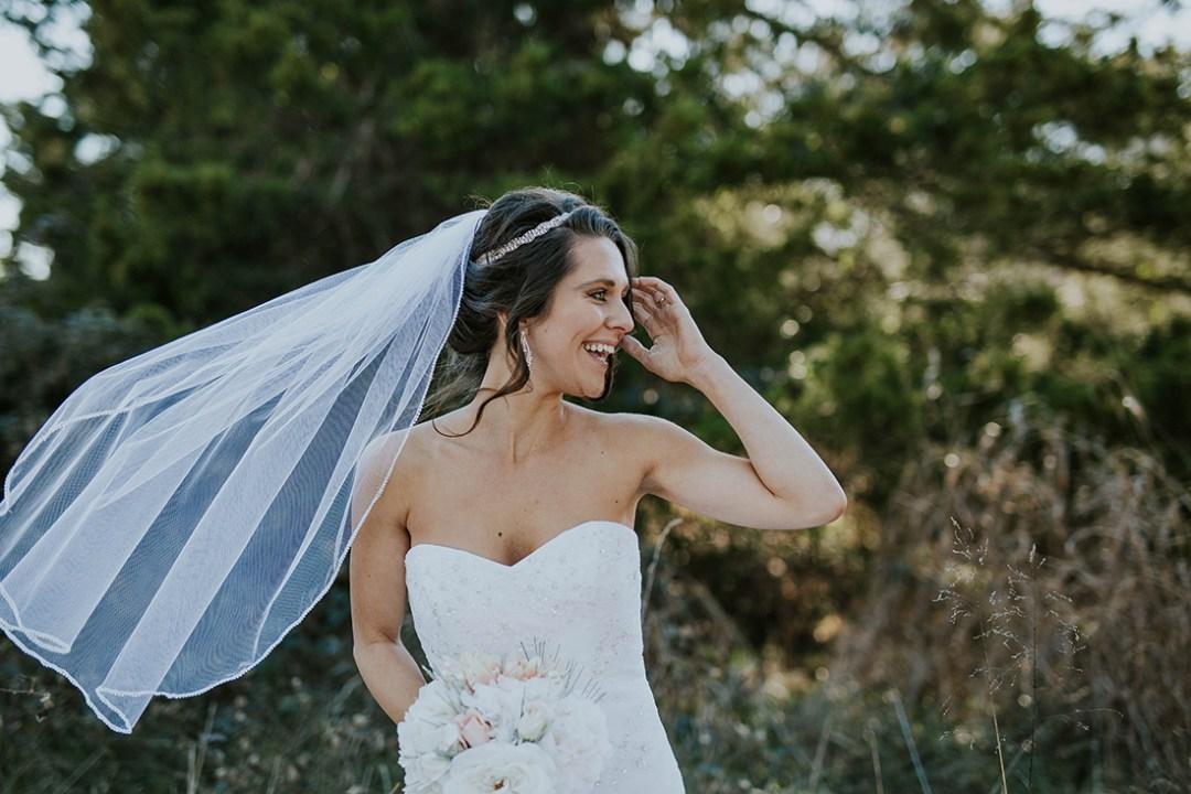 Bride with veil in breeze