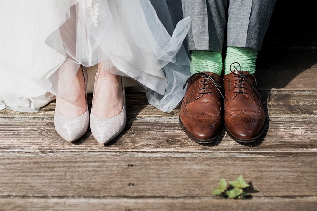 Wedding shoes & green socks