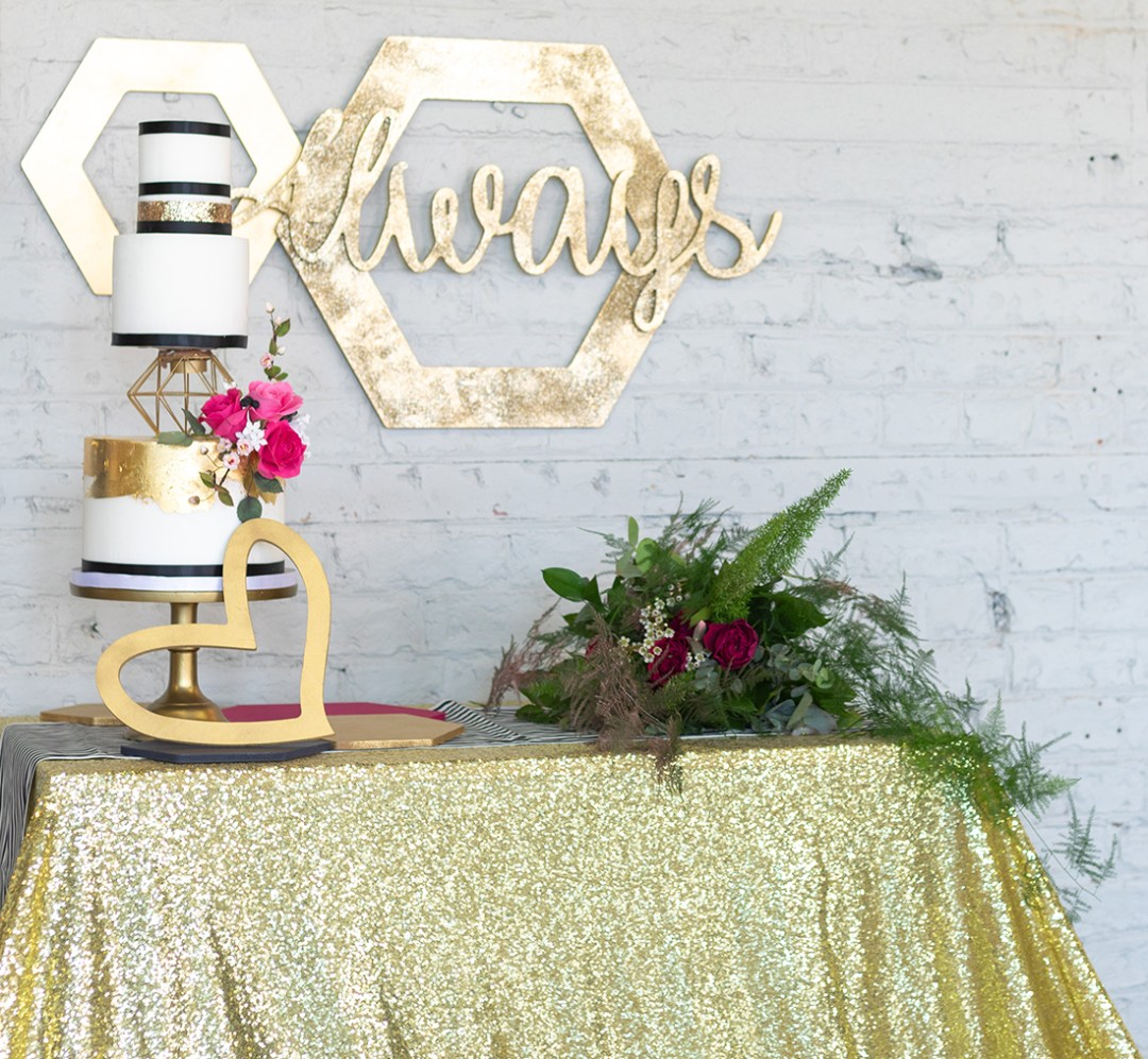Hexagon Cake with Gold accessories
