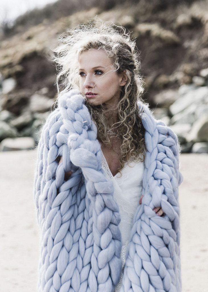 Bride at Winter Wedding with Merino Wool Blanket