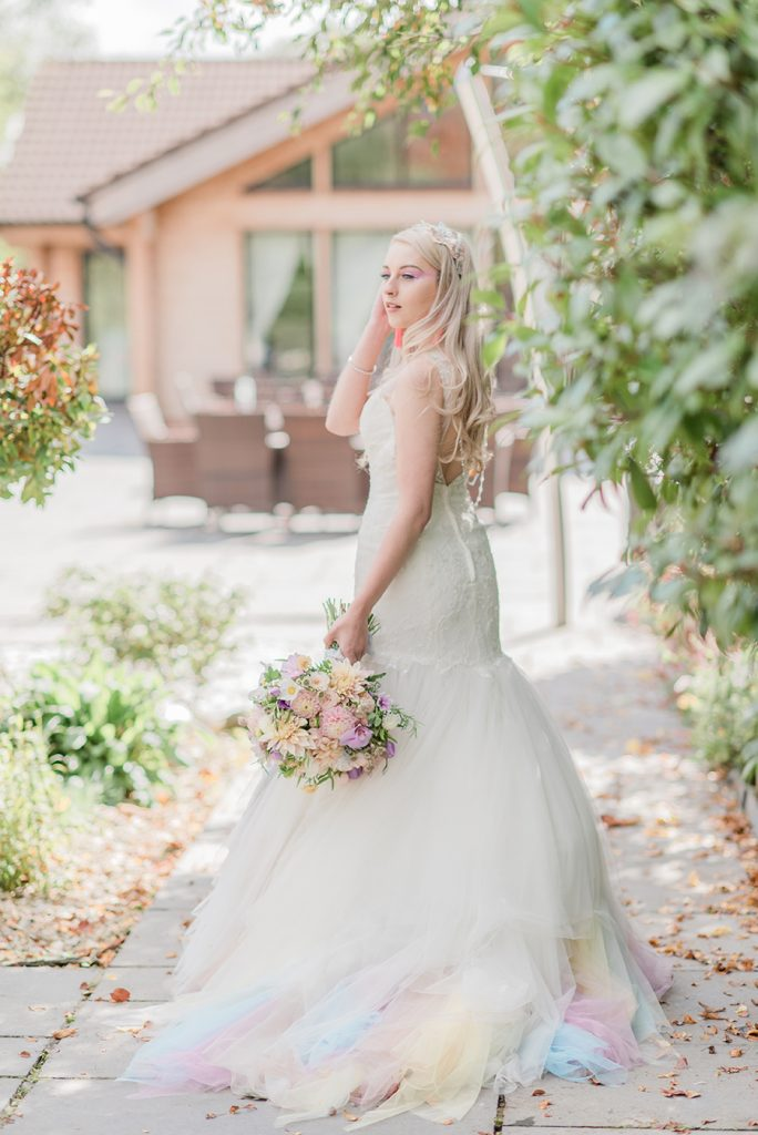Unicorn Inspired Pastel Highlights wedding dress