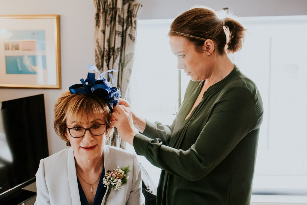 Bride's mum getting ready at the Red Lion Burnsall