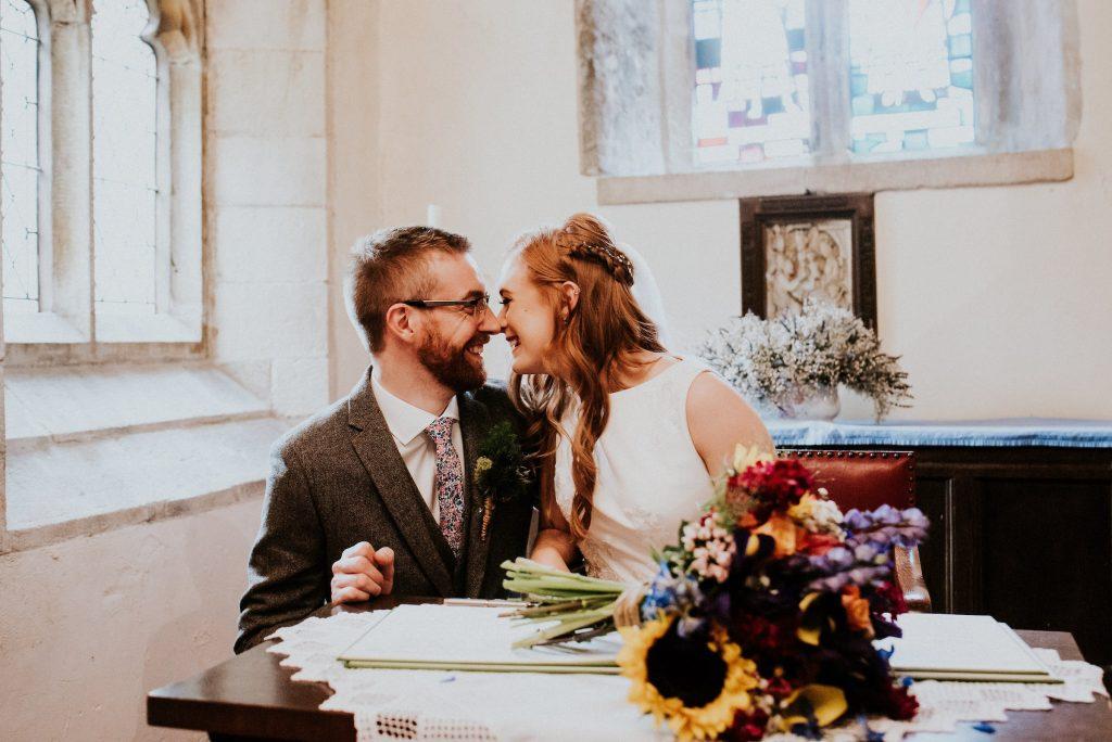 Signing the register, Burnsall wedding