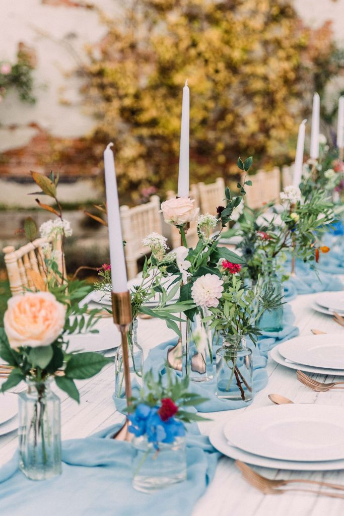Blue & Copper Table Setting Autumn Wedding in the Walled Garden