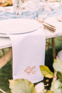Napkin Embroidered with copper monogram