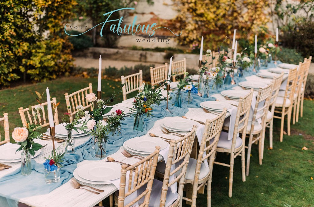 Outdoor Wedding Pale Blue & Copper Table Setting