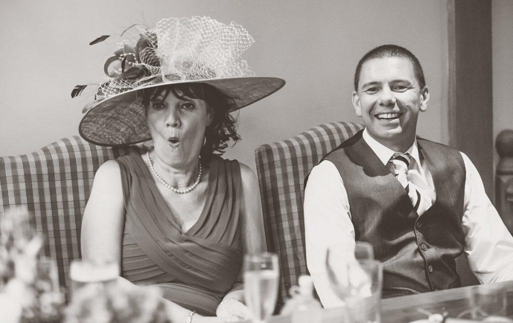 Shocked face during wedding speech